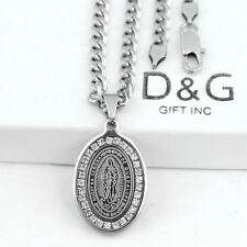 "DG 20"" Men's Cuban Necklace,VIRGIN MARY CZ Eternity Pendant~Stainless-Silver~Box"