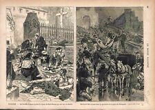 Inondation Toulouse Saint-Cyprien Porte St-Nicolas Place Estrapade GRAVURE 1875