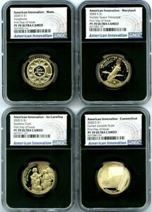 2020 S $1 SC CT MA MD NGC PF70 UC AMERICAN INNOVATION FIRST DAY ISSUE 4-COIN SET