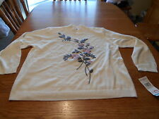 ALFRED DUNNER WOMAN SIZE 2X OFF WHITE WITH BEADED FLOWERED FRONT SWEATER