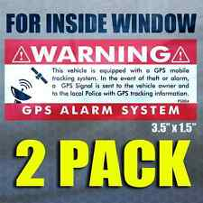 GPS 2 pk INSIDE WINDOW 3.5x1.5 RED - Anti Theft STICKERS Security Alarm Decal