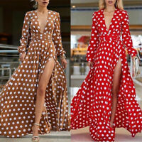 Women Polka Dot Dress Long Sleeve Sundress Boho Dresses Split Tunic Maxi Dr gx