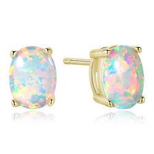 Earrings Cultured Opal 9ct Gold Oval Claw Set Stud Earrings