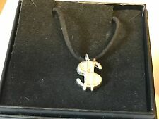 """Dollar Sign TG255 English Pewter On 18"""" Black Cord Necklace"""