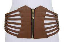 Women Wide Corset Belt High Waist Hip Brown Elastic Faux Leather Plus L XL XXL