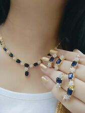 Indian Pakistan Bollywood American Diamond Necklace Combo Blue Party Wear .