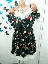 S/M 38/40 vestido mini punta sexy carmen flores abiertas hombro viscosa negro