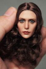 "1:6 Elizabeth Olsen Female Head Model Planted Brown Hair Fit 12"" Action Figures"