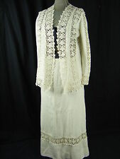 Antique 1903 Edwardian White Floral Lace Cotton Blouse & Long Skirt-S/M
