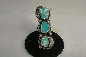 925 Sterling Silver Turquoise Navajo Ring Size 5.75