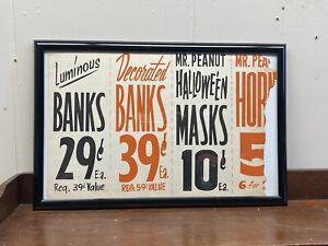 FRAMED VTG PLANTERS PEANUTS OLD STORE WINDOW PAPER SALE SIGN HALLOWEEN MASKS AD