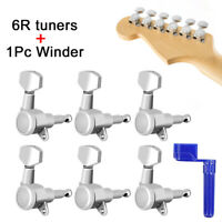 Guitar String Locking Tuners Tuning Pegs 6R In-line Machine Heads Keys W/ Winder
