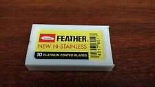 10 FEATHER New Hi-Stainless Platinum Coated Double Edge Razor Blades - Japan