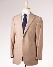 NWT $3995 D'AVENZA Tan-Melon Pink Stripe Super 130s Wool Suit 38 R Handmade