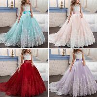 Kinder Mädchen Festkleid Party Hochzeit Prinzessin Spitze Abendkleid Kleider