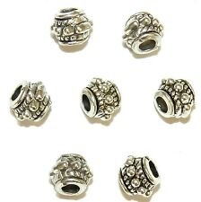 MB7320 Antiqued Silver 8mm Rope & Dot Embellished Round Barrel Beads 25pc