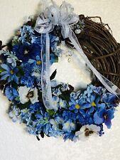 "Crystal Blue Floral Garden Grapevine Wreath Blue Gingham Ribbon Crystals 14"""