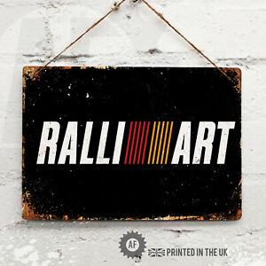 RALLIART Metal Wall Sign Pub Bar Home Mancave Garage evo Mitsubishi Race Rally