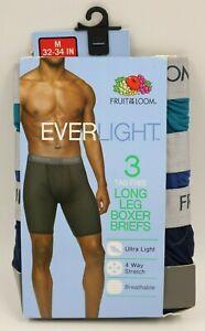 Fruit of the Loom Mens 3 Pack Mutli Color Long Leg Boxer Briefs Size M NEW