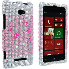 Pink to White Fade Full Diamond Snap-On Hard Case Cover for HTC Windows Phone 8X