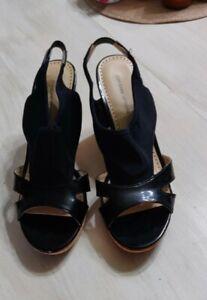 Womens Size 10  Black Patent Sandals
