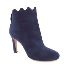 New AZZEDINE ALAIA Size 6 BOTTINES Blue Suede Scallop Ankle Boots Booties 36