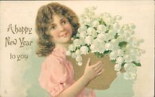 New year greetings floral basket Tucks art