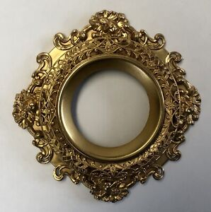 ANTIQUE FRENCH ORMOLU FILIGREE GOLD FRAME ROUND ORNATE CONVEX 3-D ROUND SMALL