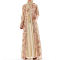 Muslim Dress Loose-fitting Dubai Cardigan Maxi Dresses For Women Lace Sequin