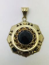 14ct Yellow Gold Pendant with Large Stone weight 10.49 Grams 32mm wide 9mm bail