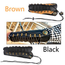 Traditional Archery Adjustable Arm Guard Cow Leather Black/Brown Protector Gear