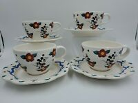 DISNEY PFALTZGRAFF MICKEY & CO SET OF 4 Coffee Mugs Cup Saucers Vintage RARE