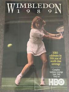 1989 HBO promo poster ~ STEFFI GRAF ~ Wimbledon ~ 27x41