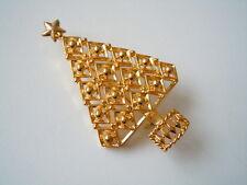 """Goldfarbene Modeschmuck Brosche """"Weihnachtsbaum mit Stern"""" 12 g/5,1 x 3,1 cm"""