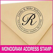 Personalized monogram address self-inking stamp. Wedding and holiday stamp.