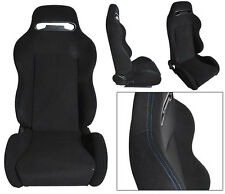NEW 2 Black Cloth + BLUE Stitching Racing Seats RECLINABLE Ford Mustang Cobra