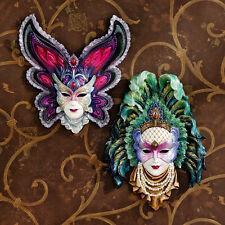 Set: Venetian Style Flamboyant Mardi Gras Maidens Carnevale Mask Wall Sculptures