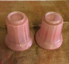 """2 Pink Art Deco Antique Glass Gas Electric Lamp Shades Globe 2-1/4"""" Fitter"""