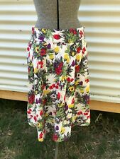 Melb Mornington Peninsula Rivette & Blair box pleat floral cotton skirt 12