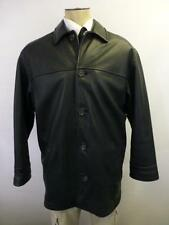 mens thick WILSONS Studio Andrew Marc button up black Leather Jacket Coat Large