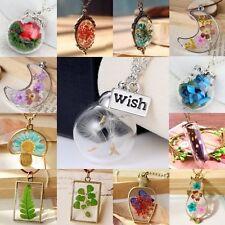 Women Wishing Bottle Dried Flower Glass Dandelion Pendant Necklace Jewellery Hot