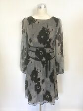 ALICE BY TEMPERLEY GREY & BLACK FLORAL PRINT SILK LONG SLEEVE DRESS SIZE 12