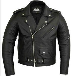 Genuine Leather Motorbike Jacket Biker Marlon Brando Motorcycle Perfecto Jacke