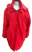 JBC Collection Women's Coat Size UK 24 Smart Red Quilted Jacket Mac With Hood
