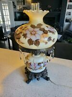 "Vintage Gone With The Wind Lamp 22"" Floral Crystal Prisms"
