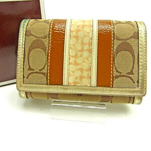 Coach Wallet Purse Signature Beige Brown Woman Authentic Used Y3526