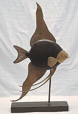 Vintage Frederick Cooper American Folk Art Angel Fish Sculpture Rose Wood Brass