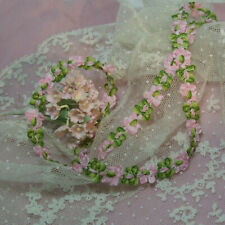 Vintage french rococo rosette flower ribbon trim ombre rose pink doll dress BTY