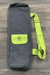 Gaiam Yoga Mat Bag Carrying Bag Lime Green Shoulder Strap Cotton Canvas