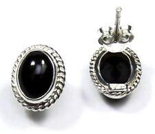 Ohrringe / Ohrstecker aus Silber 925 mit echtem Onyx / Sterlingsilber
